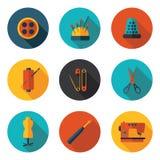 Naaiende vlakke pictogrammen Stock Foto