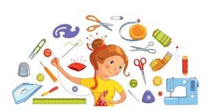 Naaister meisje en het naaien hulpmiddelen vectorconcept Stock Foto
