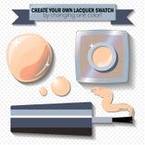 Naakt beige nagellak in realistische stijl De het pakketvlakte van de spijkerlak legt stipachtergrond Stock Afbeeldingen