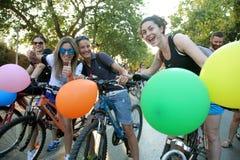 Naakt fietsras in Thessaloniki - Griekenland royalty-vrije stock afbeelding