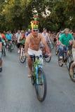 Naakt fietsras in Thessaloniki - Griekenland stock afbeeldingen