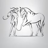 Naakt silhouet van meisje het lopen met een paard. vectorillustratio Stock Foto