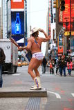 Naakte Cowboy Times Square New York de V.S. royalty-vrije stock afbeeldingen