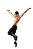 Naakte danser die op wit wordt geïsoleerd Royalty-vrije Stock Foto's
