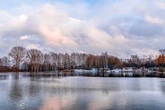 Naakte de herfstbomen op de kust van het meer Stock Afbeeldingen