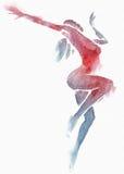 Naakte Moderne Danser Red-Blue Watercolor op Wit Royalty-vrije Stock Fotografie