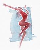 Naakte Moderne Danser Watercolor Red-Blue Stock Foto