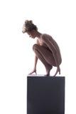 Naakte slanke vrouwenzitting op haar lenden Royalty-vrije Stock Foto