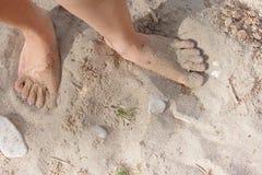 Naakte voeten op zand Royalty-vrije Stock Foto's