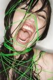 Naakte vrouw verbindend met koord. royalty-vrije stock afbeelding