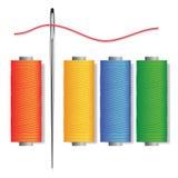 Naald en spoelen van draden vector illustratie