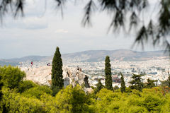 naaldbomen en stedelijk landschap van Athene Stock Fotografie
