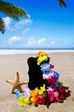 Naambord op het zandige strand Royalty-vrije Stock Afbeeldingen