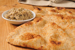 Naan Bread with black olive hummus Stock Image