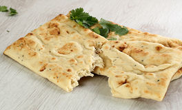 Naan bread with coriander Stock Photo