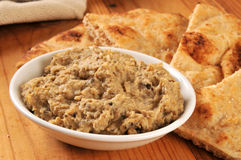 Naan bread and hummus Royalty Free Stock Photography