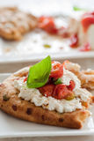 Naan bread with oven roasted ricotta Royalty Free Stock Photography
