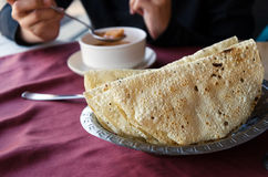 Naan bread with soup Royalty Free Stock Photography