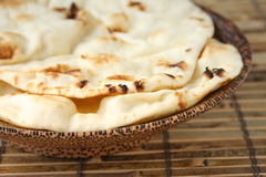 Naan Bread in Wooden Bowl Stock Photos