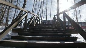 Naar boven gaand onderaan op houten treden in bospark bij de winter, lage POV-mening stock footage