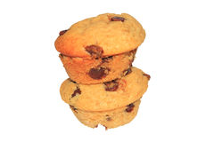 Naar huis gebakken banaan en choc spaander geïsoleerde muffins Stock Foto's