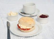 Naar huis gemaakt scone met jam en geklonterde room Royalty-vrije Stock Foto's