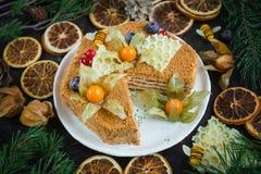 Naar huis gemaakte honingscake, Hoogste mening op donkere achtergrond royalty-vrije stock afbeelding