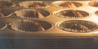 Naar huis gemaakte Muffin met chocolade royalty-vrije stock foto's