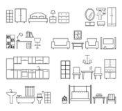 Naar huis verwante pictogrammen Meubilair voor verschillende ruimten Stock Foto's