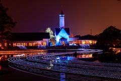 Nabana no Sato garden winter illumination at night, Nagoya. Japan stock photo