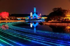 Nabana no Sato garden winter illumination at night, Nagoya. Japan stock photos