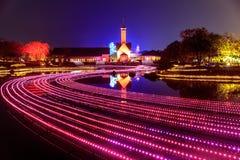 Nabana no Sato garden winter illumination at night, Nagoya. Japan royalty free stock images