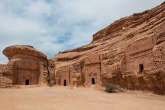 Nabatean坟茔在Madaîn萨利赫考古学站点,沙特阿拉伯 库存图片