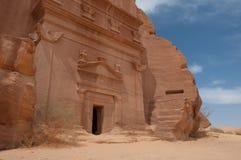 Nabatean坟茔在Madain萨利赫考古学站点,沙特阿拉伯 库存图片