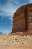 Nabatean-Grab in archäologischer Fundstätte Madain Saleh, Saudi-Arabien lizenzfreie stockfotografie