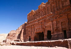 Nabatean temple or tomb town Petra, Jordan. Royalty Free Stock Image