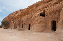 Nabatean tomb in Madaîn Saleh archeological site, Saudi Arabia.  stock photo