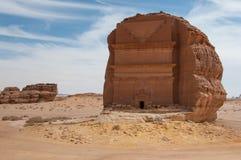 Nabatean tomb in Madaîn Saleh archeological site, Saudi Arabia.  royalty free stock photography
