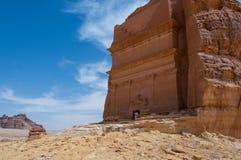 Nabatean tomb in Madaîn Saleh archeological site, Saudi Arabia.  royalty free stock image