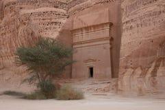 Nabatean tomb in Madain Saleh archeological site, Saudi Arabia.  stock photos