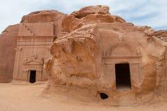 Nabatean tombs in Madaîn Saleh archeological site, Saudi Arabia.  stock images