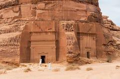 Nabatean tombs in Madaîn Saleh archeological site, Saudi Arabia.  royalty free stock photo