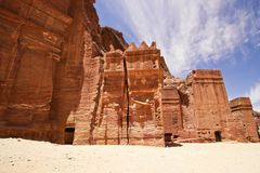Nabatean tombs in Siq. Stock Photo