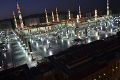Nabawi Mosque in Medina at dusk time Royalty Free Stock Photography