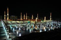 Nabawi Mosque in Medina with full view at night time Stock Photography