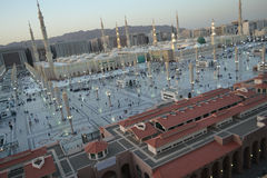 Nabawi Mosque in Medina at twilight Stock Photos