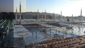 Nabawi Mosque time lapse from dawn to morning stock video footage