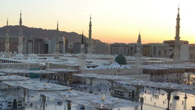 Nabawi Mosque time lapse from dawn to morning morning closeup stock video