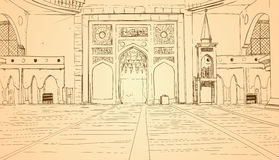Nabawimoskee die Binnenlandse Moslimgodsdienst Ramadan Kareem Holy Month bouwen Royalty-vrije Stock Afbeeldingen