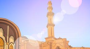 Nabawimoskee die Moslimgodsdienst Ramadan Kareem Holy Month bouwen Stock Afbeeldingen